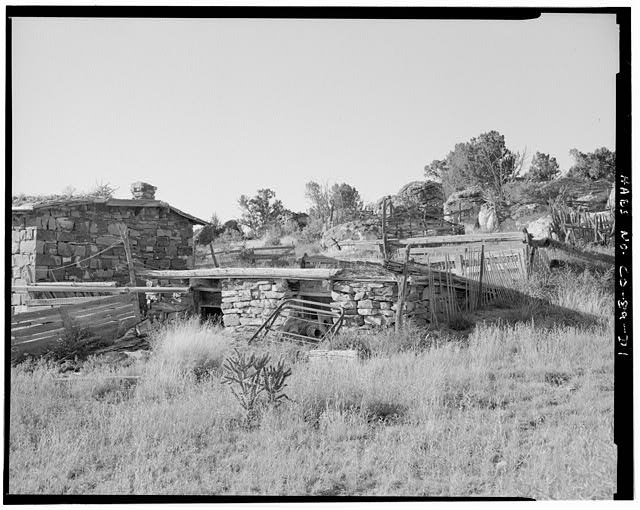 Dugout cellar, front and right side, looking northwest. - Adam & Bessie Arnet Homestead, Dugout Cellar, East & adjacent to Marguerite Arnet Residence, Model, Las Animas County, CO