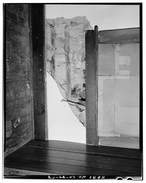 Adam and Bessie Arnet Residence, interior detail of jacal wall construction in west jacal room - Adam & Bessie Arnet Homestead, Adam & Bessie Arnet Residence, 18 feet west of Generator House, Model, Las Animas County, CO
