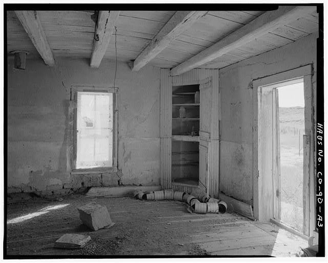 Original residence, interior with cupboard and doorway. - Samuel T. Brown's Sheep Ranch, Original Residence, 110 feet northwest of main residence, Model, Las Animas County, CO
