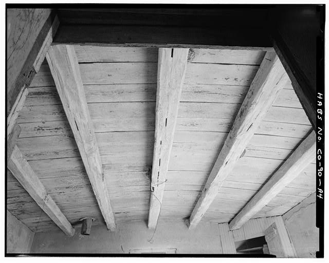 Original residence, detail roof structure from center room - Samuel T. Brown's Sheep Ranch, Original Residence, 110 feet northwest of main residence, Model, Las Animas County, CO
