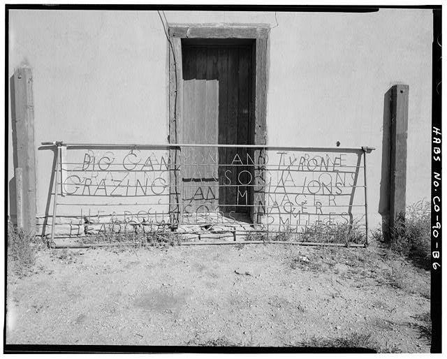 Horse barn, exterior, gate detail, front of stable door, looking northwest. - Samuel T. Brown's Sheep Ranch, Horse Barn, 170 feet northeast of main residence, Model, Las Animas County, CO