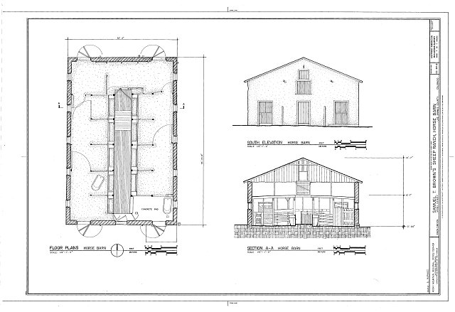HABS COLO,36-MOD.V,2B- (sheet 1 of 1) - Samuel T. Brown's Sheep Ranch, Horse Barn, 170 feet northeast of main residence, Model, Las Animas County, CO