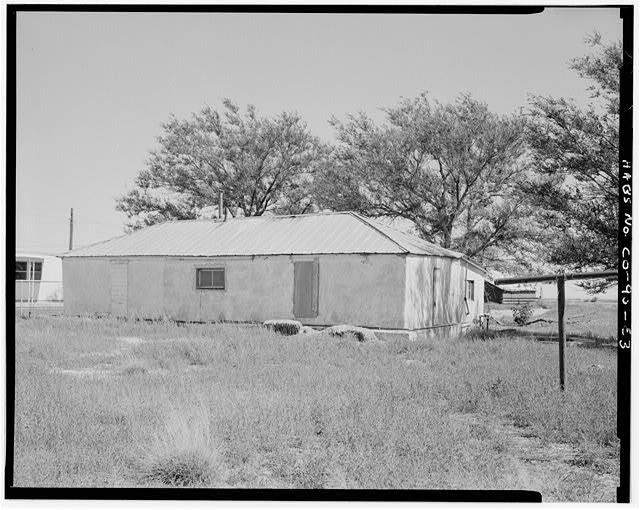Main residence, rear west and south sides looking northeast. - Samuel T. Brown's Sheep Ranch, Main Residence, 110 feet southeast of original residence, Model, Las Animas County, CO