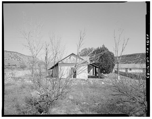 Residence, rear, looking east. - Eugene Rourke Ranch, Residence, 40 feet west of bunkhouse, Model, Las Animas County, CO