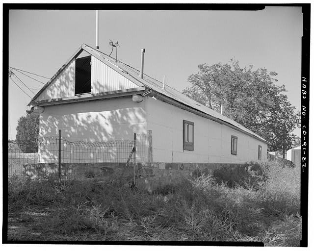 Bunkhouse, rear and right end looking northwest. - Eugene Rourke Ranch, Bunkhouse, 30 feet east of residence, Model, Las Animas County, CO