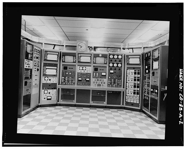2.  VIEW OF THE EXPERIMENT CONTROL PANEL IN 1970. THE NUCLEAR SAFETY GROUP CONDUCTED ABOUT 1,700 CRITICAL MASS EXPERIMENTS USING URANIUM AND PLUTONIUM IN SOLUTIONS (900 TESTS), COMPACTED POWDER (300), AND METALLIC FORMS (500). ALL 1,700 CRITICALITY ASSEMBLIES WERE CONTROLLED FROM THIS PANEL. - Rocky Flats Plant, Critical Mass Laboratory, Intersection of Central Avenue & 86 Drive, Golden, Jefferson County, CO