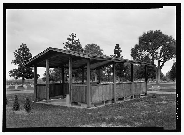 COMMITTAL SHELTER, FRONT AND WEST SIDE ELEVATION.  VIEW TO SOUTHEAST.  - Fort Lyon National Cemetery, 15700 Country Road HH, Las Animas, Bent County, CO