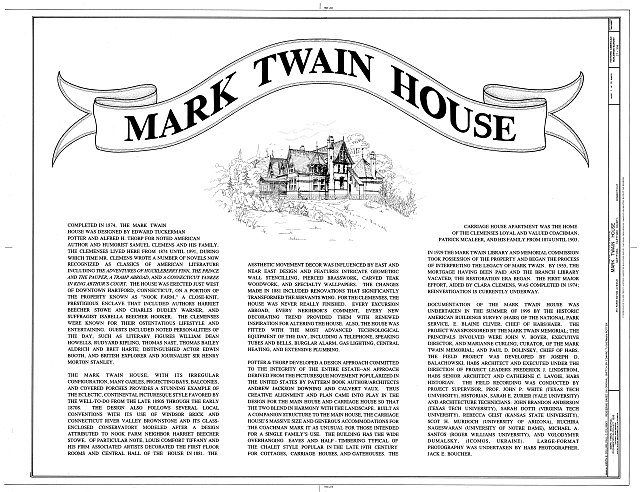 HABS CONN,2-HARF,16- (sheet 1 of 14) - Mark Twain House, 351 Farmington Avenue (corrected from original address of 531 Farmington Avenue), Hartford, Hartford County, CT