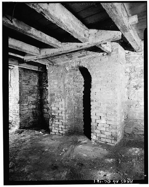 7.  Historic American Buildings Survey George Eisenman, Photographer Summer 1967 BASEMENT, FIREPLACE SUPPORT IN SOUTHWEST CORNER - Adams-Mason House, 1072 Thomas Jefferson Street Northwest, Washington, District of Columbia, DC
