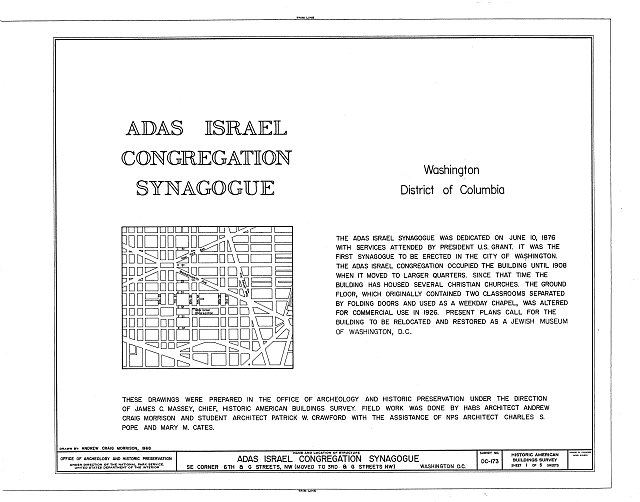 HABS DC,WASH,385- (sheet 1 of 5) - Adas Israel Synagogue, Third & G Streets Northwest (moved from Sixth & G Streets Northwest), Washington, District of Columbia, DC