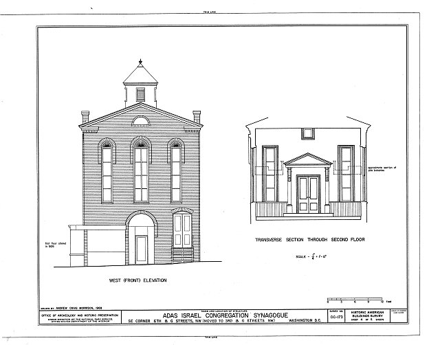 HABS DC,WASH,385- (sheet 4 of 5) - Adas Israel Synagogue, Third & G Streets Northwest (moved from Sixth & G Streets Northwest), Washington, District of Columbia, DC