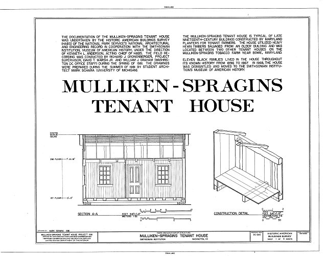 HABS DC,WASH,492- (sheet 1 of 3) - Mulliken-Spragins Tenant House, National Museum of American History, Smithsonian Institution, Washington, District of Columbia, DC