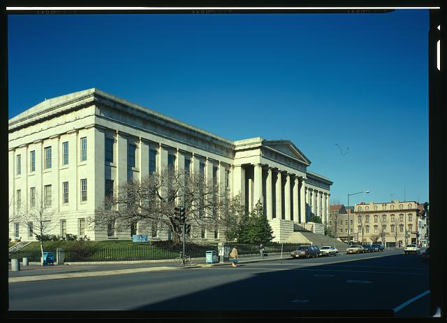 SOUTH FRONT FROM THE SOUTHWEST - Patent Office Building, Bounded by Seventh, Ninth, F & G Streets, Northwest, Washington, District of Columbia, DC