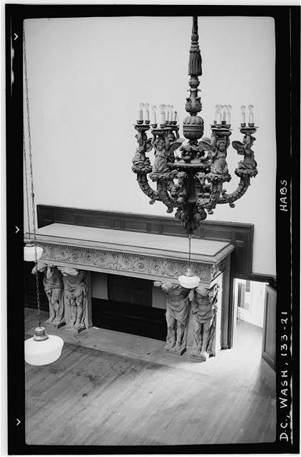 21.  Historic American Buildings Survey Frederick D. Nichols, Photographer December 1938 CHANDELIER AND FIREPLACE IN BALLROOM - John R. McLean House, 1500 I Street Northwest, Washington, District of Columbia, DC