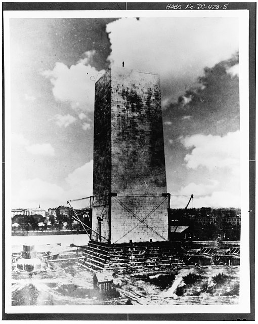5.  Photocopy of photograph (from collection of the Smithsonian Institution) sometime between 1855 and 1880 UNFINISHED SHAFT OF MONUMENT - Washington Monument, High ground West of Fifteenth Street, Northwest, between Independence & Constitution Avenues, Washington, District of Columbia, DC