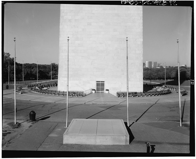 12.  East elevation, from base to 56'. Jack Boucher, photographer; 29 September 1993. - Washington Monument, High ground West of Fifteenth Street, Northwest, between Independence & Constitution Avenues, Washington, District of Columbia, DC
