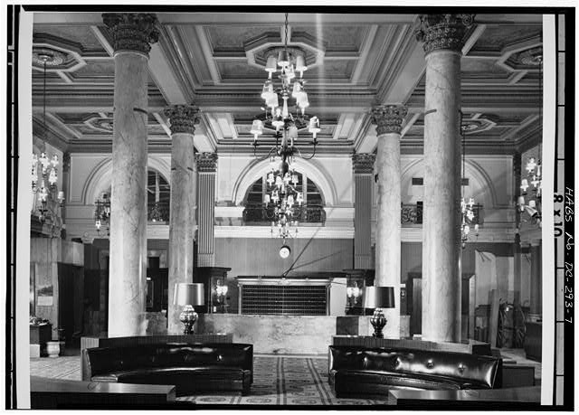 7.  INTERIOR, FIRST FLOOR, MAIN LOBBY, LOOKING NORTHWEST (5' x 7' negative; 8' x 10' print) - Willard Hotel, 1401-1409 Pennsylvania Avenue Northwest, Washington, District of Columbia, DC