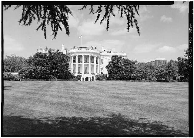 100.  South Elevation; View of South Elevation looking NE - White House, 1600 Pennsylvania Avenue, Northwest, Washington, District of Columbia, DC