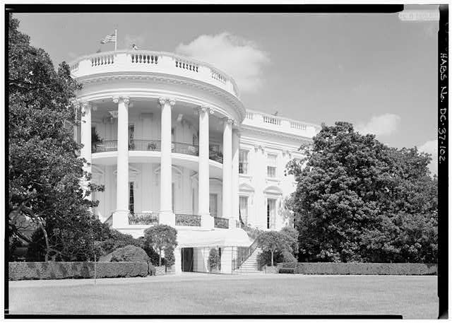 102.  South Porch; View of South Porch looking NE (with paint) - White House, 1600 Pennsylvania Avenue, Northwest, Washington, District of Columbia, DC