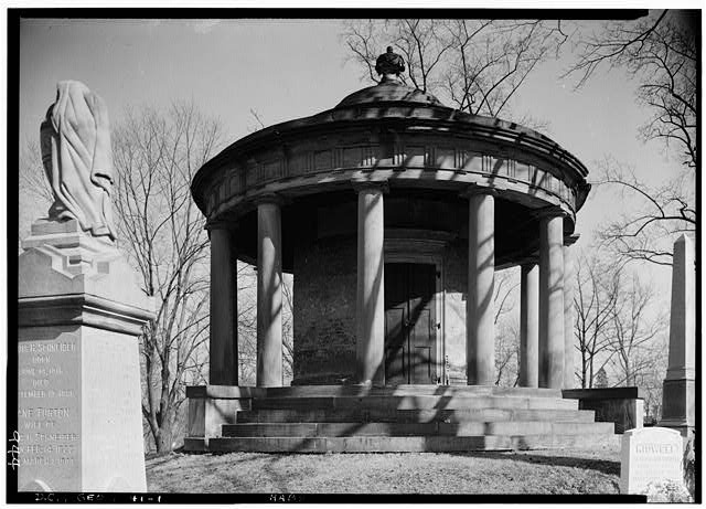 1.  Historic American Buildings Survey John O. Brostrup, Photographer April 2, 1937 3:15 P.M. VIEW FROM NORTHWEST (front). - Van Ness Mausoleum, Oak Hill Cemetery, Washington, District of Columbia, DC