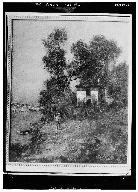 81.  Historic American Buildings Survey Copy by John O. Brostrup, Photographer of sketch loaned by Mrs. Cooper Davison August 27, 1936 4:15 A. M. VIEW FROM            . - General John Mason House, Analostan Island or Theodore Roosevelt Island, Washington, District of Columbia, DC