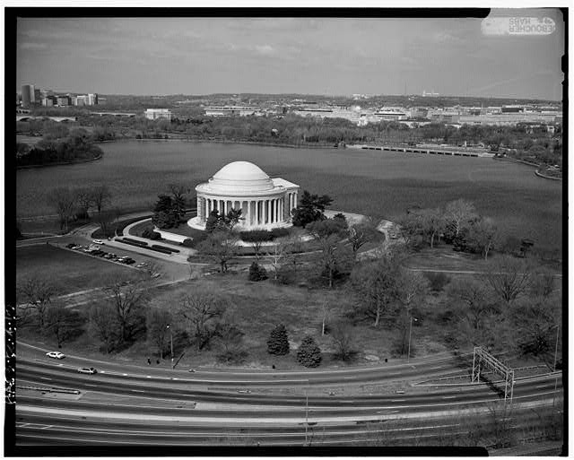 19.  Aerial view from the southeast. Jack Boucher, photographer; February 1992. - Jefferson Memorial, East Potomac Park, Washington, District of Columbia, DC