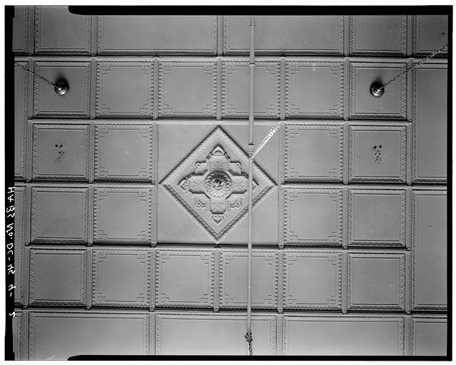 2.  INTERIOR, FIRST FLOOR CEILING, DETAIL OF RAISED CRUCIFORM WITH PENDANT - 817 Market Space Northwest (Commercial Building), Square 408, Lot 817, Washington, District of Columbia, DC