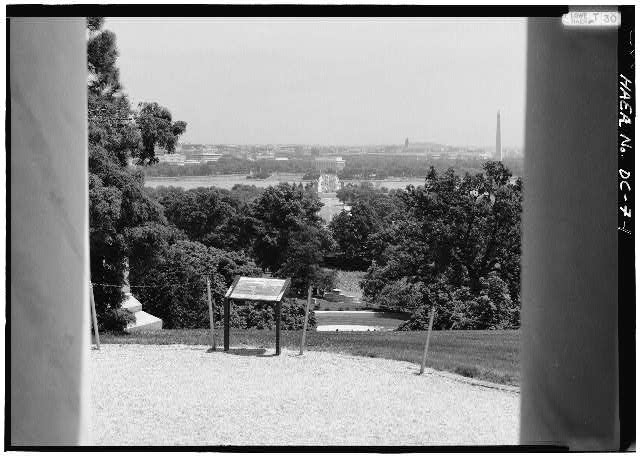 General view, showing eastern view from portico of Curtis-Lee Mansion at Arlington National Cemetery. - Arlington Memorial Bridge, Spanning Potomac River between Lincoln Memorial & Arlington National Cemetery, Washington, District of Columbia, DC