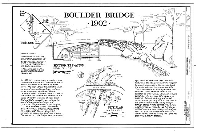 Boulder Bridge, Rock Creek Park plans