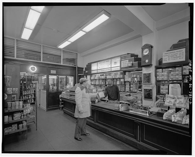 Interior view of first floor retail counter and office from southwest - 1013 E Street, Northwest (Commercial), Square 347, Washington, District of Columbia, DC