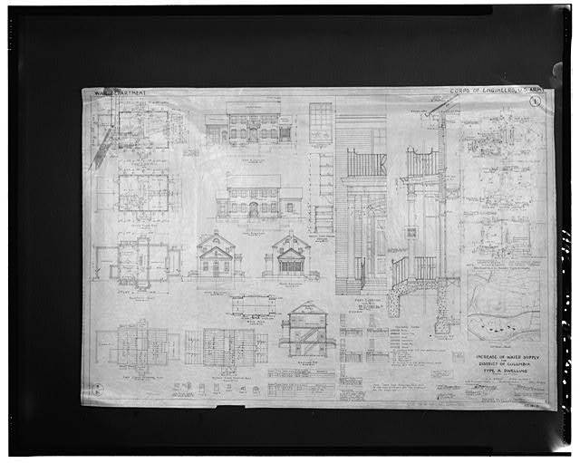 Photographic copy of the original construction drawing, dated 13 May 1926, from the linens in possession of the U.S. Army Corps of Engineers, Washington Aqueduct Division, Dalecarlia reservation, Washington, D.C. TYPE A DWELLING - 5906 Dalecarlia Place (House), Washington, District of Columbia, DC