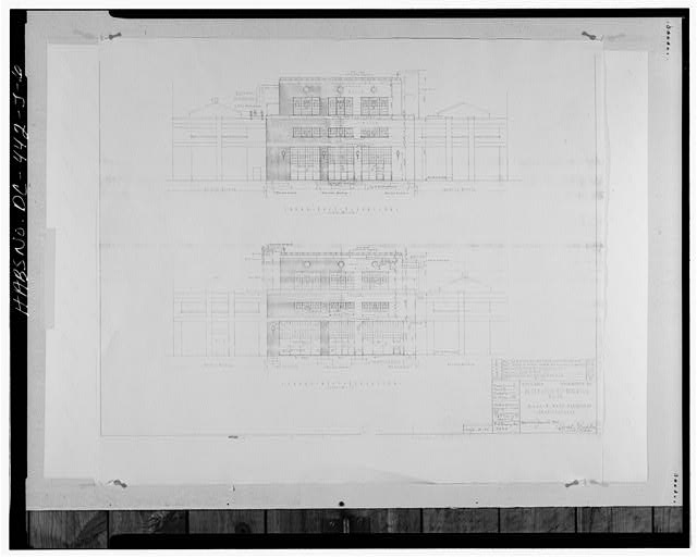 Photocopy of Drawing of East and West Elevations, dated 16 January 1942. Original drawing located at Public Works Center, Drawings and Map Vault, Building 166, Washington Navy Yard, Washington, D.C. - Navy Yard, Building No. 28, Between Isaac Hill & Patterson Avenues, Washington, District of Columbia, DC
