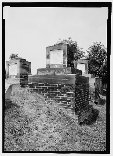 VIEW FROM EAST OF A GROUPING OF THE OLDEST CENOTAPHS LOCATED NEAR THE NORTH FENCE. NOTE URIAH TRACY CENOTAPH AND ITS EXPOSED BRICK BASE.   - Congressional Cemetery, 1801 E Street, Southeast, Washington, District of Columbia, DC