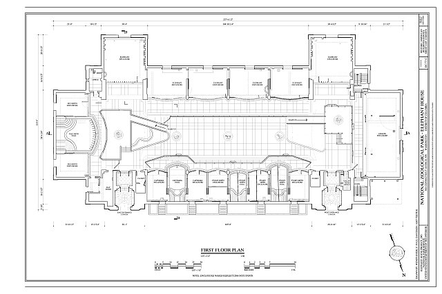 First floor plan - National Zoological Park, Elephant House, 3001 Connecticut Avenue NW, Washington, District of Columbia, DC