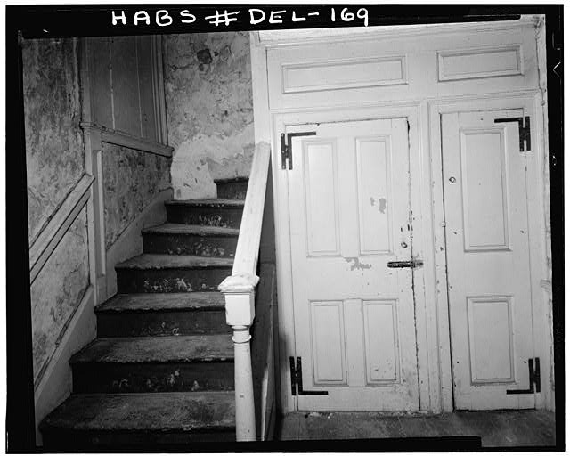 6.  Historic American Buildings Survey Earl Brooks, Photographer 1958 FIRST FLOOR STAIRWAY IN LATER (1768-1781) MASONRY SECTION OF HOUSE - Robinson-Murray House, Limestone Road, Milltown, New Castle County, DE