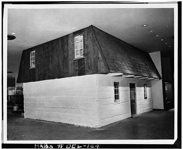 8.  Historic American Buildings Survey HABS Photocopy made from photograph from the Smithsonian Institution, Washington, D.C. DELAWARE LOG HOUSE EXHIBIT0 INSTALLED IN THE 'HALL OF EVERYDAY LIFE IN THE AMERICAN PAST,' MUSEUM OF HISTORY AND TECHNOLOGY, SMITHSONIAN INSTITUTION - Robinson-Murray House, Limestone Road, Milltown, New Castle County, DE