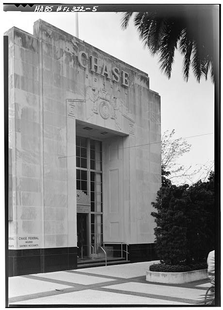 5.  CHASE FEDERAL SAVINGS AND LOAN ASSOCIATION, 1100 LINCOLN ROAD MALL, NORTH ELEVATION - Miami Beach Art Deco Historic District, Miami, Miami-Dade County, FL