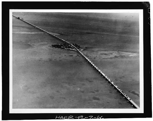 66.  Pigeon Key Bridge, aerial view w/auto traffic, April 23, 1938 (Matlack 397-13-7). - Seven Mile Bridge, Linking Florida Keys, Marathon, Monroe County, FL