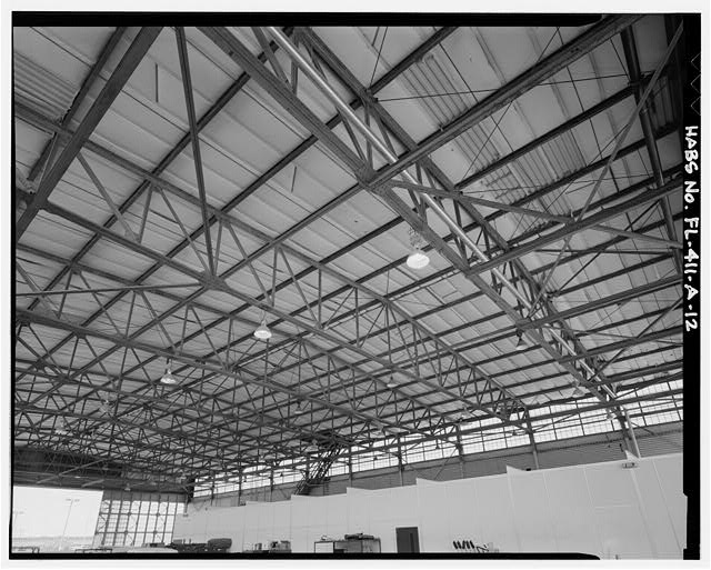 HANGAR CEILING FROM SOUTHEAST CORNER - Eglin Air Force Base, Hangar No. 1, 505 Choctawhatchee Avenue, Valparaiso, Okaloosa County, FL