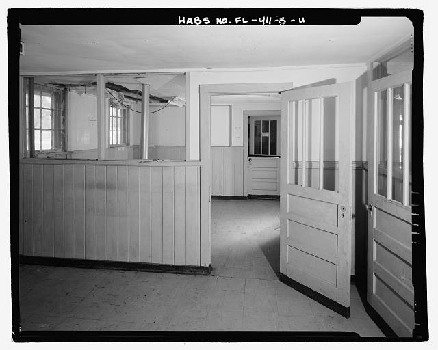 INTERIOR OFFICES AT THE SOUTHERN END OF THE BUILDING, LOOKING SOUTH - Eglin Air Force Base, Storehouse & Company Administration, Southeast of Flager Road, Nassau Lane, & southern edge of Weekly Bayou, Valparaiso, Okaloosa County, FL