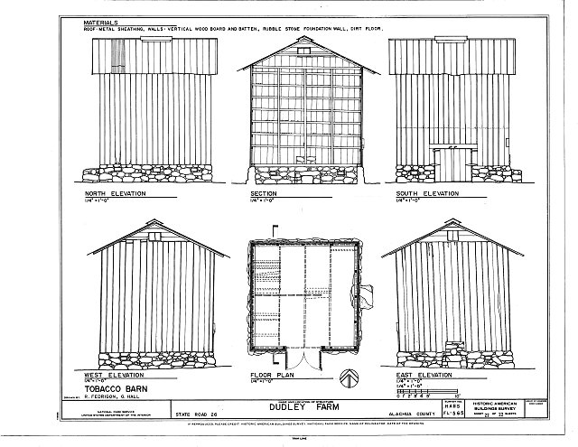 Tobacco barn elevations floor plan section dudley for Tobacco barn house plans