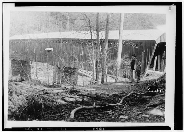 1.  Historic American Buildings Survey L. D. Andrew, Photographer (Enlarged by) Aug. 6, 1936 Photographed by Harold Bush-Brown SIDE VIEW - Covered Bridge, Spanning Soap Creek, Atlanta, Fulton County, GA
