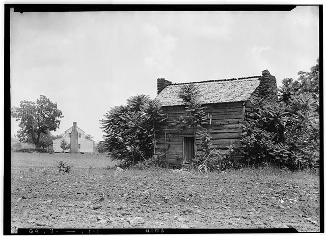 1.  Historic American Buildings Survey L.D. Andrew - Photographer. May 16, 1936. WEST ELEVATION and FARMHOUSE - Cochran Log House, Hoschton, Jackson County, GA