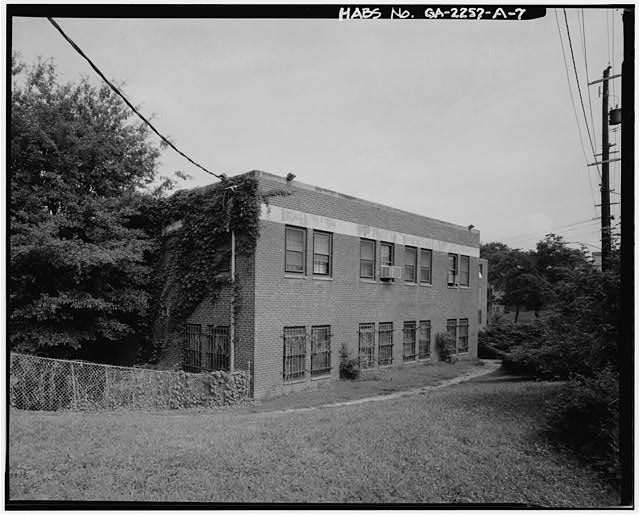 7.  EAST SIDE AND SOUTH REAR. - Techwood Homes, Store & Administration Building, 114-138 Merrit Avenue, Atlanta, Fulton County, GA