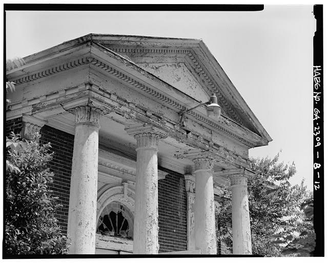 12.  Front columns, capitals, and entablature. - Clark Howell Homes, Anne Wallace Branch Carnegie Library, 538 Luckie Street, Atlanta, Fulton County, GA