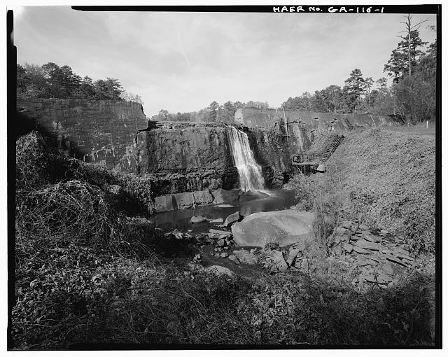 1.  VIEW OF DAM AT SPILLWAY, LOOKING NORTHWEST - Big Lake Dam, Fourth Street, South of Atlantic Avenue, Marietta, Cobb County, GA