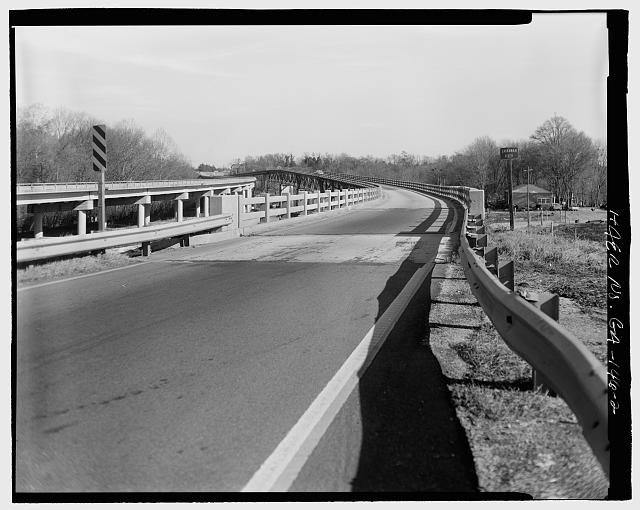 2.  VIEW OF WEST APPROACH FACING EAST - Sand Bar Ferry Bridge, Spanning Savannah River  on State Highway 28, Augusta, Richmond County, GA