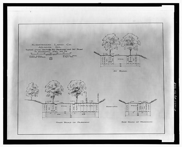 TYPICAL CROSS SECTIONS FOR PARKWAY AND 50' ROAD TO ACCOMPANY PLAN NO. 74 - Druid Hills Historic District, US 29, Atlanta, Fulton County, GA