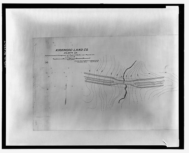 SKETCH FOR ECONOMICAL ARRANGEMENT OF ROADS & WALKS OVER PEAVINE CR. IN SECTION II - Druid Hills Historic District, US 29, Atlanta, Fulton County, GA