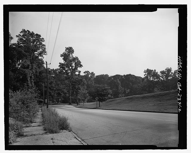 FACING NORTH ALONG CANDLER PARK DRIVE TOWARD NORTHWEST CORNER OF PARK - Candler Park Historic District, Roughly bounded by Moreland, Dekalb, McLendon & Harold Avenues, Matthews Street  & Clifton Terrace, Atlanta, Fulton County, GA